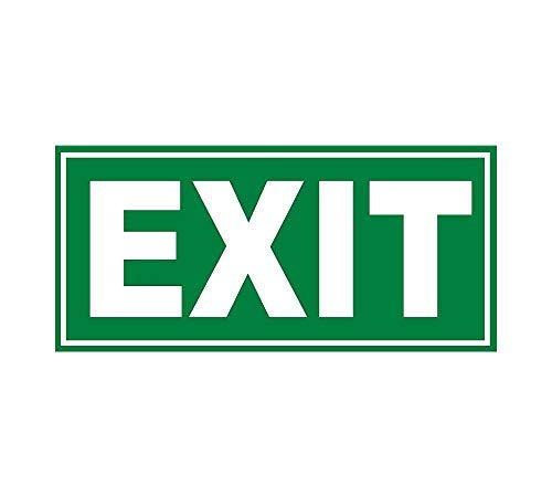 (Phosphorescent EXIT Glow Door Sign Glow in The Dark Sticker Decal - for Business Store, Shop, Cafe, Office, Restaurant - Back Self Adhesive Vinyl)