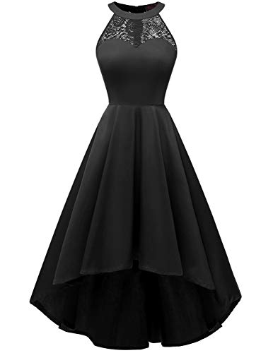 DRESSTELLS Women's Vintage 50's Bridesmaid Halter Floral Lace Cocktail Prom Party Hi-Lo Dress Black XS