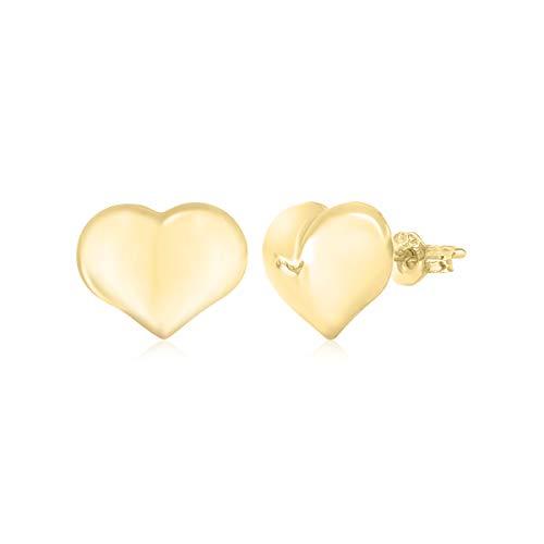 Puff Heart Stud Earrings 14K Yellow Gold Polished Shiny Italy UNICORNJ