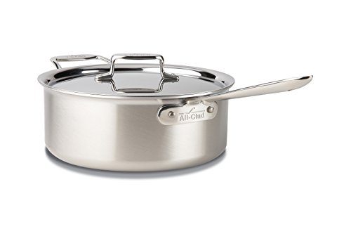 - All-Clad BD55206 D5 Brushed 18/10 Stainless Steel 5-Ply Bonded Dishwasher Safe Deep Saute Pan with Lid Cookware, 6-Quart, Silver