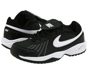 - Nike Mens Air Diamond Trainer Black/White/Metallic/Silver Baseball Cleat 9 Men US