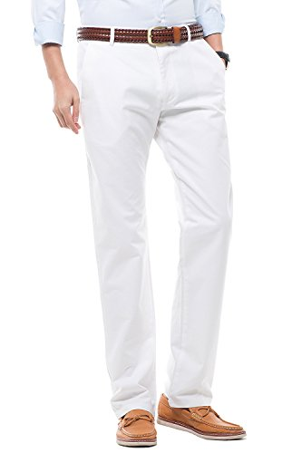 Men's Stretch Casual Pants Flat Front Regular Fit Dress Pants Trousers for Men,Size 34 White Pants by MIYA (Image #4)