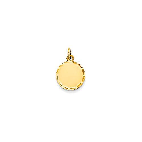 Charm Disc Engravable (Mireval 14k White Gold Etched .009 Gauge Engravable Round Disc Charm)