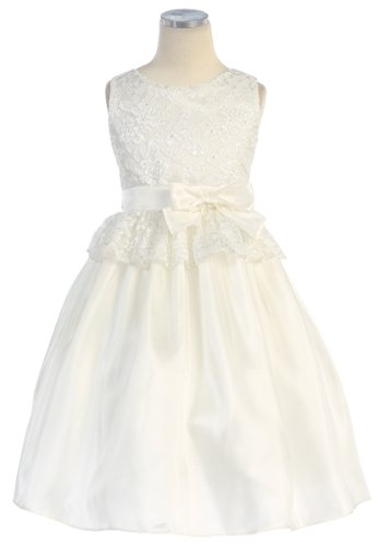 Sweet Kids Pink Lace Easter Dress Toddler Little Girls 2T-12 (4, OFF-WHITE)
