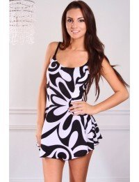 1 PC. Missy Tropical Swirls Swimdress - 10 - Black/White