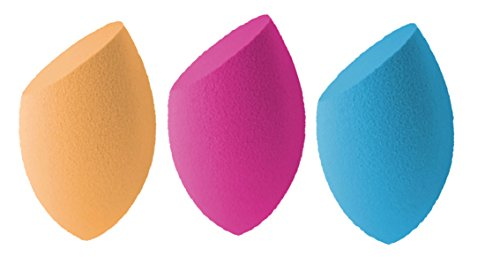 Miracle Complexion+Blue+Rose Red Sponge,Pack of 3, Latex-Free, Polyurethane Foam, Multi-Purpose, Flawless for Liquid, Creams, and Powders,Round Bottom Foundation Blending Makeup Sponges