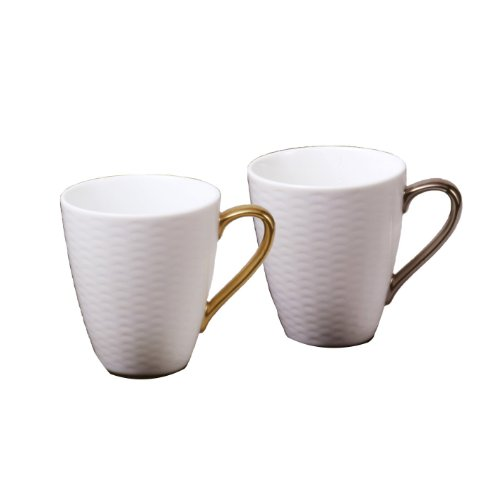 Noritake Fine Porcelain net mugs pair set gold, silver P5355L/1605-6 (japan import) ()