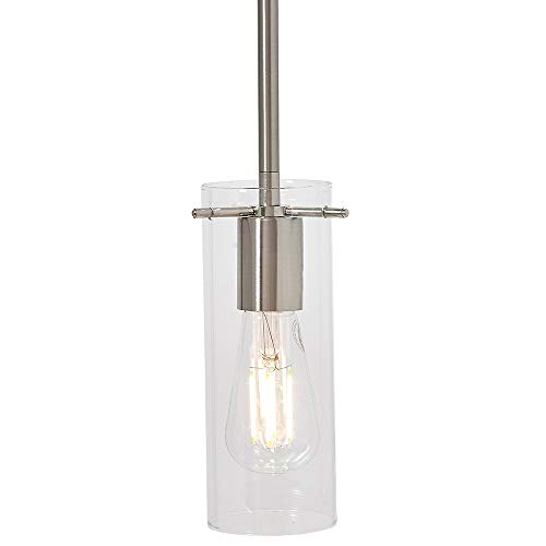Pendant Design Lighting (New Simple Modern Clear Glass Pendant Light Brushed Finish| Contemporary Sleek Cylinder Design | Clear Fixture)