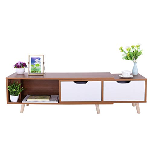 Hellofishly Monitor Stand Computer TV Riser, Simple Modern TV Cabinet with Living Room Furniture Mini Telescopic TV Cabinet (Pine Tv Riser Stand)