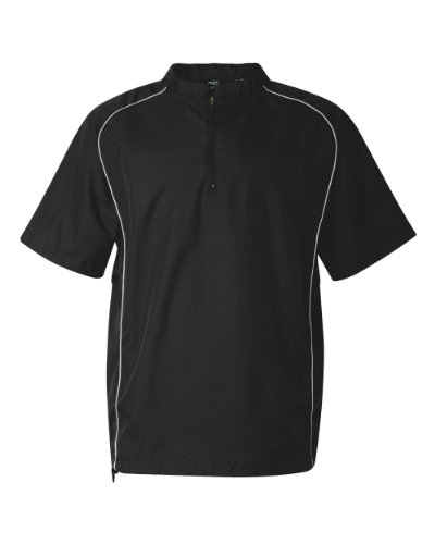 Rawlings Adult Quarter-Zip Short Sleeve Dobby Jacket With Piping (Black) (L) by Rawlings
