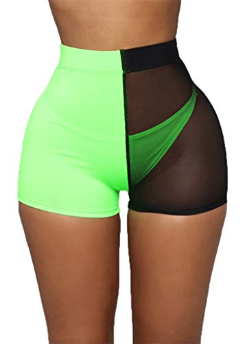 Nihsatin Women's Mesh Trim Shorts Neon Bright Elastic Waist Stretchy Short Leggings(Black-Green, Medium)