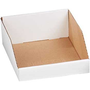 "Aviditi BINMT1012 Corrugated Open Top Bin Box, 12"" Length x 10"" Width x 4-1/2"" Height, Oyster White (Case of 25)"