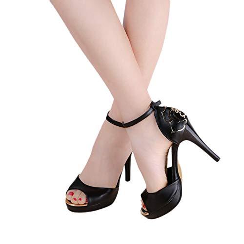Antidérapant Sandales Talon Mot Chaussures Loisirs Poisson Mode Femmes Haut Bout Sexy Boucle Noir Bouche Ronde Fin vvrqBw