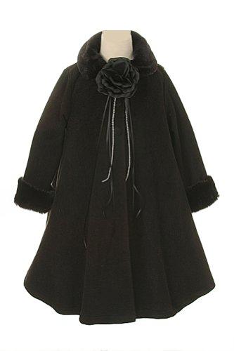 [Cozy Fleece Long Sleeve Cape Jacket Coat - Black Girl 10] (Black And White Cape)