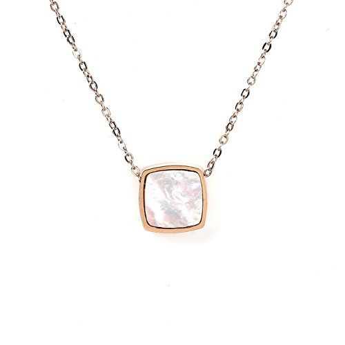 United Elegance Trendy Rose Tone Designer Necklace with Arctic White Faux Mother-of-Pearl Square Geometric ()
