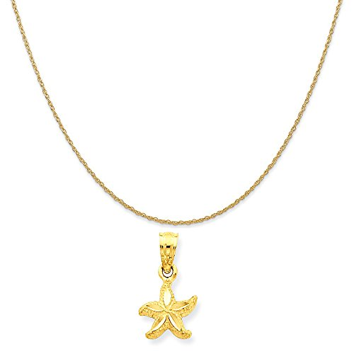 14k Yellow Gold Starfish Pendant on a 14K Yellow Gold Rope Chain Necklace, 20