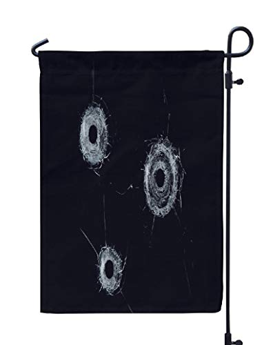 Soopat Black Hole Seasonal Flag, Broken Glass Triple Glass Black Broken Glass Triple Weatherproof Double Stitched Outdoor Decorative Flags for Garden Yard 12''L x 18''W Welcome Garden Flag