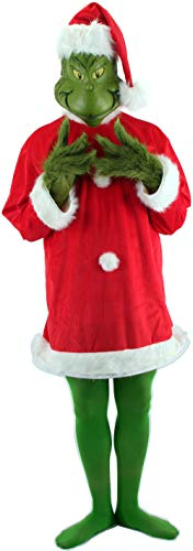 Grinch Characters Costumes (Dr. Seuss Santa Grinch Costume Adult with Mask and Gloves)