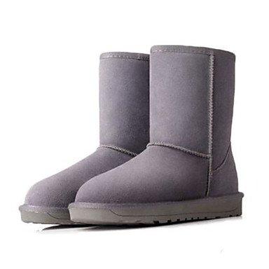 Botas de la mujer Confort Suede Primavera Casual caqui gris plana negra Gray