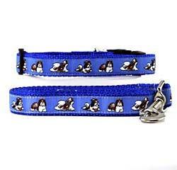 Shih Tzu Dog Breed Dog Collar and Leash Set - Blue