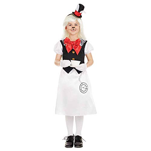 Girls White Rabbit Costume Childrens Wonderland Animal Outfit - Large