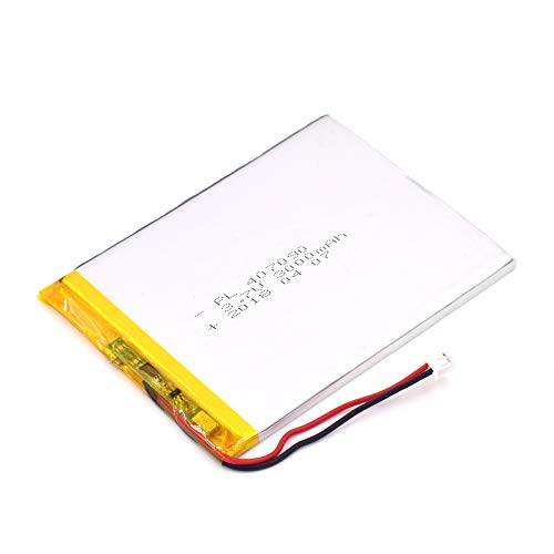 (3.7V 3000mAh 407090 Lipo Battery Rechargeable Lithium Polymer ion Battery Pack with JST Connector)