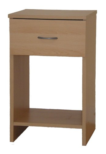 Bedside Table Beech 1 Drawer Cabinet Open Storage Selby
