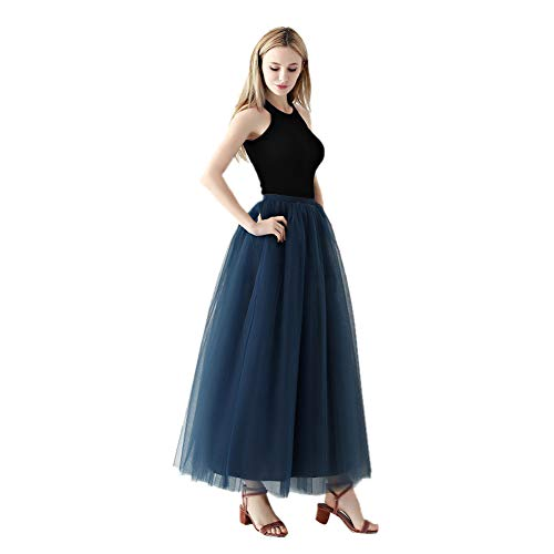 URVIP Women's 4 Layers Tulle Overskirt Floor Length Tutu Skirt for Wedding Party One Size Navy]()