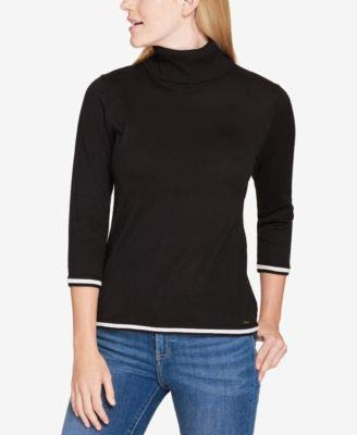 Hilfiger 3/4 Sleeve Tommy - Tommy Hilfiger Womens Knit 3/4 Sleeves Pullover Sweater Black XL
