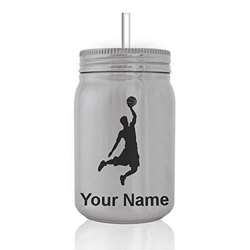 Dunk Slam Mj - SkunkWerkz Mason Jar Sports Bottle, Basketball Slam Dunk Man, Personalized Engraving Included