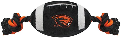 (NCAA Oregon State Beavers Pet Football Rope Toy, 6-Inch Long Plush Dog Toy with Inner Squeaker)