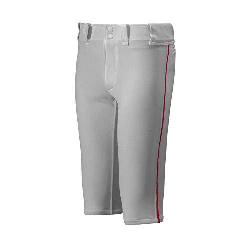 Mizuno Youth Premier Piped Short Baseball Pant, Grey-Red, Youth Medium