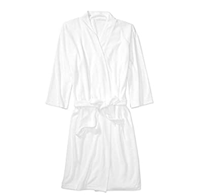 Women's Plus Size 3/4-Sleeve Light Weight Terry Robe White