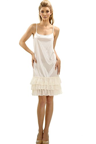 [Shop Lev] Women's Satin Full Slip with Sheer - Sheer Stretch Slip