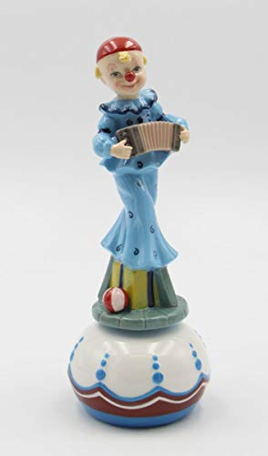 (Cosmos Gifts Fine Porcelain Clown Playing Accordion Musical Box Figurine (Music Tune: Send in The Clown), 8-3/4