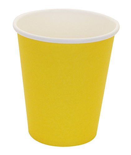 Hot Party Paper Cups, 8 Ounce, 50 Count, Multiple Colors (Yellow)