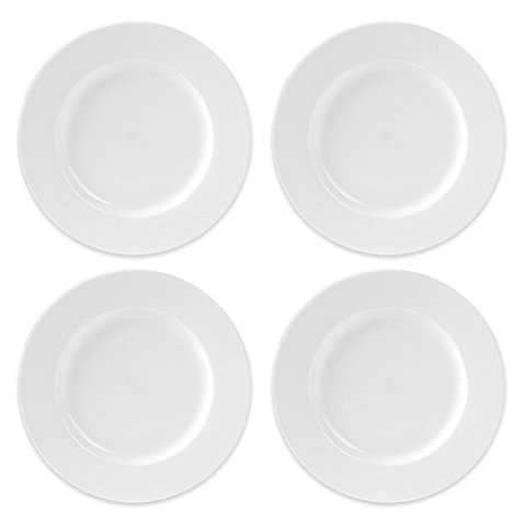 "10.75"" Everyday White by Fitz and Floyd Rimmed Dinner Plates in White (Set of 4)"