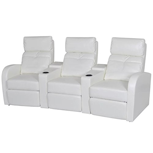 Theater 3 Seater - vidaXL White Artificial Leather 3-Seat Home Theater Recliner Sofa Lounge w/Cup Holder