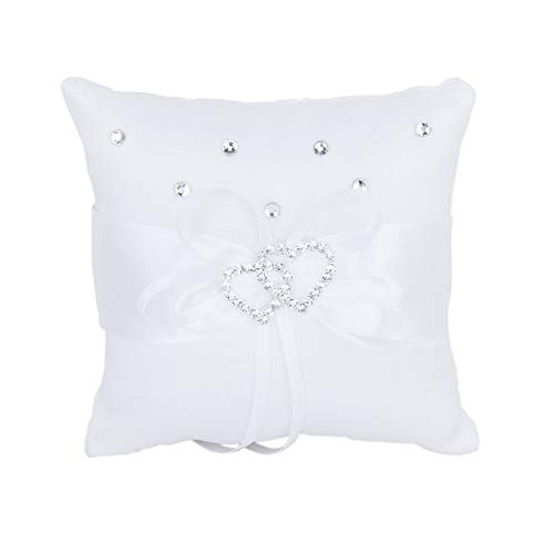 - Tcplyn Wedding Ring Pillow Pocket Bridal Double-Heart Ring Bearer Cushion Romantic Embellished with Satin Bowknot Elegant White Design (20*20cm)