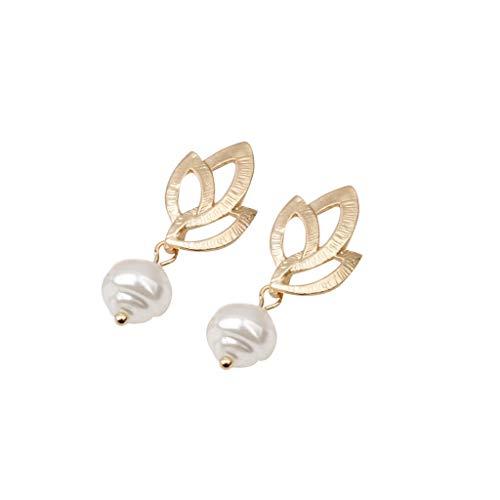 BEERICHH Women Dangle Drop Earrings Retro Creative Irregular Shaped Geometric Pearl Hoop Earrings Stud Earrings Jewelry