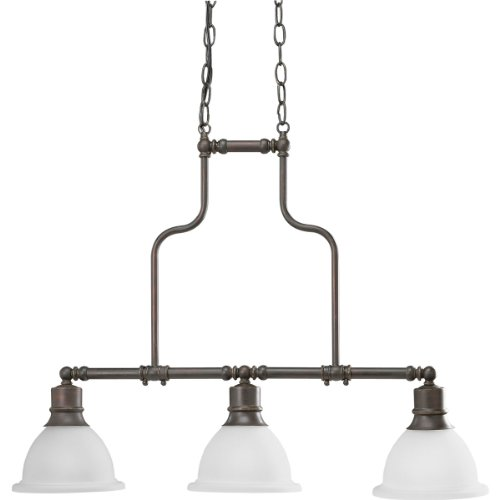Progress Lighting P4282-20 3-Light Linear Chandelier with White Etched Glass, Antique Bronze