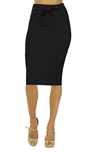 Dinamit Jeans Women's High Waist Below Knee Pencil Skirt Black (High Waisted Black Pencil Skirt)