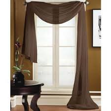 Gorgeous Home *DIFFERENT SOLID COLORS* AND ALSO *ANIMAL PRINT* 1PC SCARF VALANCE SOFT SHEER VOILE WINDOW TOPPER SWAG PANEL CURTAIN 216' LONG (CHOCOLATE BROWN)
