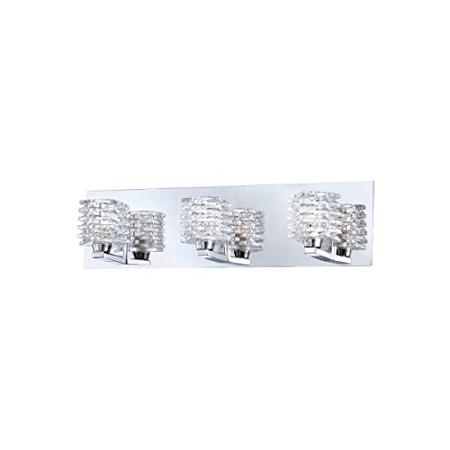 Eurofase Lenza Patterned Glass Cubes Bathroom Vanity Light, Chrome Finish, 3 G9 Light Bulbs, 19.75 Inches Wide - Model - Wide 19.75 Inch Bathroom Fixture