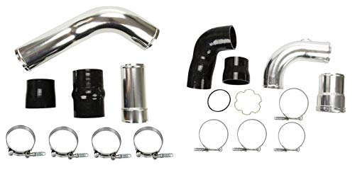 Polished Hot & Cold Side Intercooler Pipe Boot Kit For 11-16 Ford 6.7L Diesel