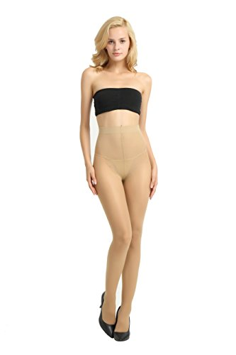 Alice & Belle Women's Super Thin Pantyhose, Soft Tights with Lace Control Top (Medium, Light (Lace Control Top Pantyhose)