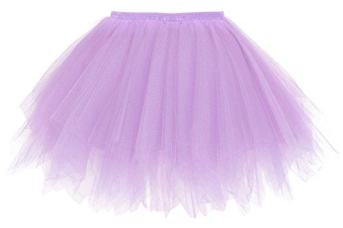 Simplicity Women's 50s Vintage Ballet Bubble Tutu Skirt Petticoat, Purple