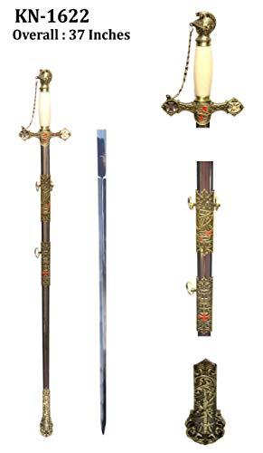 SplendidGifts Masonic Knights Templar Ceremonial Sword with Chain