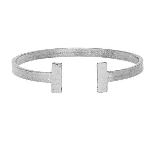 3mm Cuff (SENFAI Simple Double T Cuff Bracelet/Jewelry Set for Women (Antique Bracelet 3))