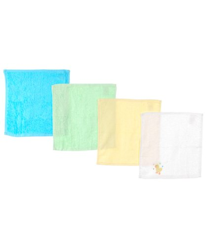 "Luvable Friends ""Just Ducky"" 4-Pack Washcloths - aqua/white,"